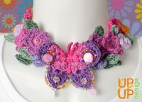 Up & Up Necklace Neckband: Butterfly & Flowers