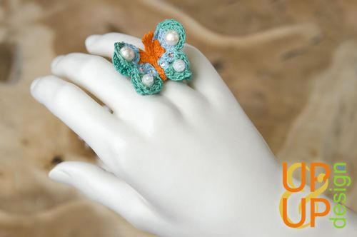 Up & Up Ring: Joyous Butterfly ~ green/blue/orange