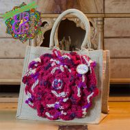 Up & Up Bags in bloom! UUBIB01 Top Handle Bag in rood, paars en ecru