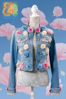 SOLD Up & Up upgraded 'Jeans & Spring Flowers' jacket