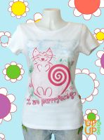 I am purrrfect ~ size L white SU
